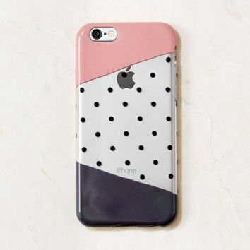 Clear Black Polka Dot Pattern iPhone 6S/ 6 case