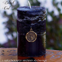 BLACK CAT Pillar Candle for Rituals Involving Hex Breaking, Reversing Bad Luck, Feline Familiar, Favorable Omens, Money, Love, Bast, Freyja