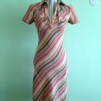 Cotton Striped Short Sleeve Shirt Midi Dress by Divided H&M Size S EU 34, US 4