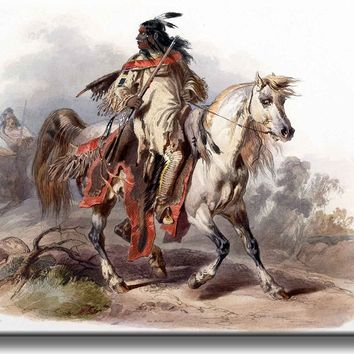 Indian on Horse Vintage Picture on Stretched Canvas, Wall Art Décor, Ready to Hang