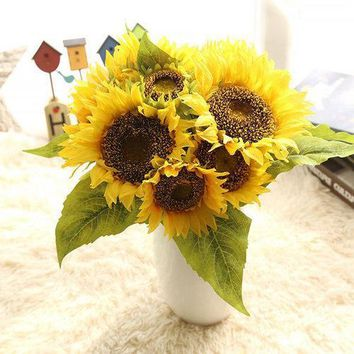 7 Heads Real Touch Sunflower Artificial Fake Flowers Plants Bouquet Party Wedding Home Decor