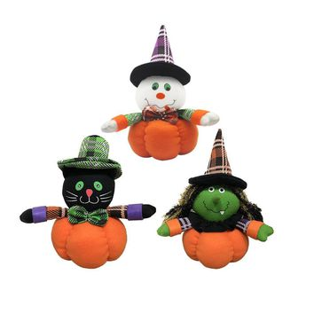 Funny Pumpkin Witch Ghost Black Cat Plush Doll with Stocking Cap for Halloween Parties Dancing Hall Mall Decor DIY Decoration