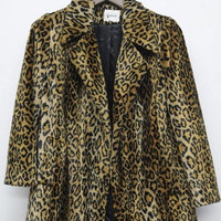 ON SALE Vintage Leopard Coat by Visage Royal 1960's Faux Fur Cheetah Jacket Mid Century Mad Men Mod Winter Essential Stylish Hipster Size La