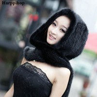 Mink Fur Scarf, Handmade Knitted Natural Mink Fur Hat Scarf Female
