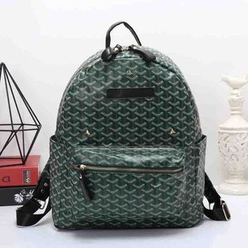 Goyard Women Leather Bookbag Shoulder Bag Handbag Backpack Green