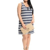 Navy Striped Scoop Neck Dress | $10 | Cheap Trendy Casual Dresses Chic Discount Fashion for Women |