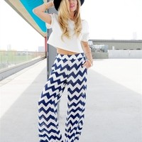 Chevron Palazzo Pants high-waisted zigzag elasticized back