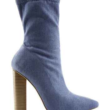 Denim Pull On Mid Calf Pointy Toe Heeled Bootie