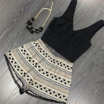 Black Top & Print Shorts Two Piece Set