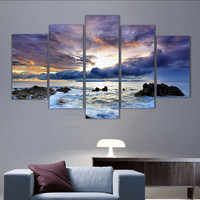 (No Frame)5 Pcs Sea  Painting Canvas Wall Art Picture Home Decoration Living Room Canvas Print Painting--Large Canvas Art