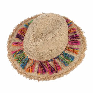 Bohemian Ethnic Beach Hats For Ladies Tassel Rope Large Brim Sun Hat Floppy Raffia Straw Hats Women Sombrero Summer Caps