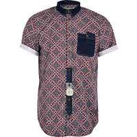 River Island MensRed Holloway Road tile print shirt