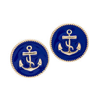 MKL Accessories Earrings Anchors Away in Ice Blue