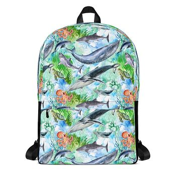 Sea Life Ocean Animals School Backpack with Sharks, Whales, Dolphins, Sea Turtles and Octopus