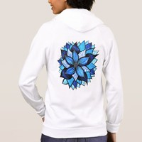 Beautiful Abstract Blue Flower Ink Drawing Hoodie