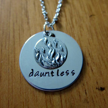 Divergent Inspired Factions Necklace. Dauntless Faction. Tris. Silver colored, charm pendant, hand stamped jewelry.