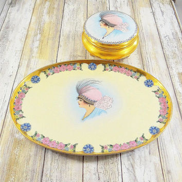 Antique Mortiz Zdekauer Hand Painted Porcelain Dressing Table Tray and Powder Bowl