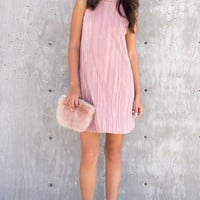 Marielle Mock Pleated Swing Dress - Blush