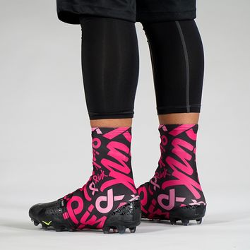 2019 Pink Ribbon Pattern Spats / Cleat Covers