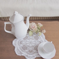 Home decor - White doily handmade crochet Flower in flower, traditional vintage houseware, cotton crochet shabby chic lace doily
