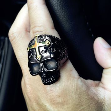Skull Men's Punk Rock Jewelry Size 8&10 Skull Cross Ring