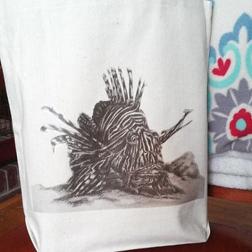 Tote Bag with Lionfish Natural Off White READY to SHIP