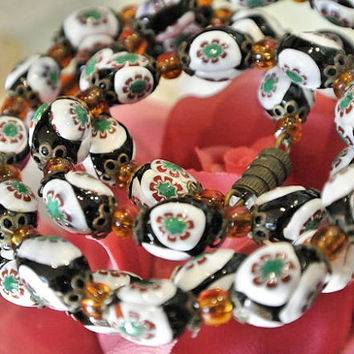 1940s Venetian Murano Millifiori Necklace Art Glass Hand Rolled Bead Antique Beaded Necklace Italian Italy Unusual Rare Black Glass Beads