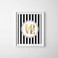 Faux Gold Foil Love Art Print. Black and White. Stripes. Chic Decor. Office Art. Nursery Print. Modern Home Decor. Preppy. Love.