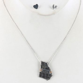 Sliver State Of Georgia Aged Finish Metal Necklace And Earring Set