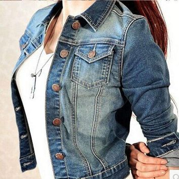 PEAPUG3 Denim Jacket for Women Autumn Newest Patchwork Slim Coat Lady Girls Denim Outerwear Plus size Woman Jeans Clothing Jackets Coat = 1929793284