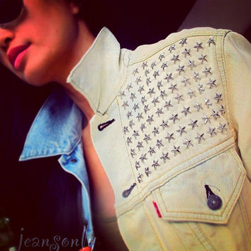 Levis acid wash jean jacket studded denim jacket by Jeansonly