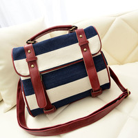 Fashion Striped Canvas Shoulder Bag-Fashion Shopping Mall