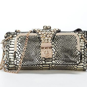 Genuine Leather Evening Clutch Bags Women Snakeskin Pattern Real 040ca53874965