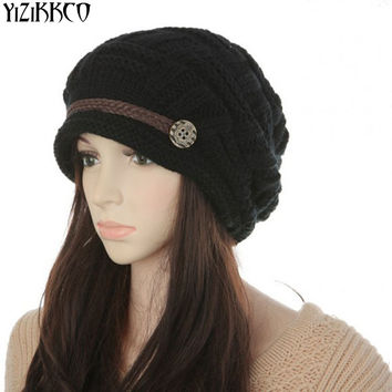 YiZiKKCO Brand Casual Kintted Hats Women Skuilles Beanies High Quality Auttum Winter Warm Gorras 4Colors Casquette Homme SZQ157
