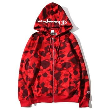 Bape X Champion Fashion Camouflage Print Hoodies Zippers Lovers Casual Jacket Coat Sweater Red