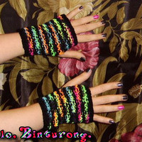 Neon Rib Stitch Gloves