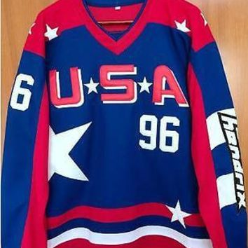 NEW Mighty Ducks D2 Team USA Hockey Jersey #96 Charlie Conway Stitched All Sewn