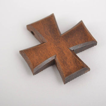 Handmade wooden jewelry cross pendant cross necklace gifts for christening