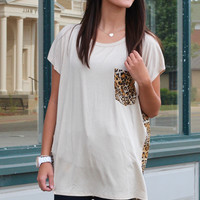 Leopard Party Pocket + Back Top {Taupe}