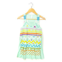 Geo Tribal Stamp - Hand STENCILED Deep Scoop Neck Racerback Women's Swing Tank Top in Mint and Pastel Rainbow - XS S M L XL 2XL