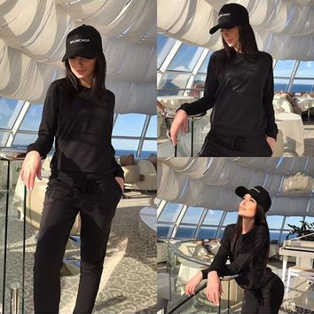 Black Plain Drawstring Pockets 2-in-1 Casual Long Jumpsuit