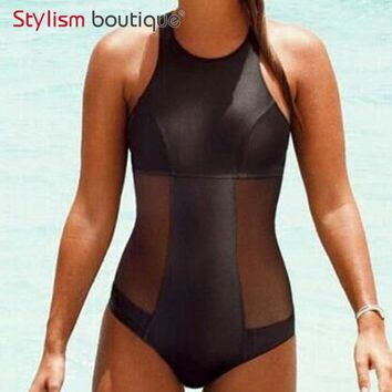 New 2017 Pu Leather One Piece Swimsuit Mesh Patchwork Swimwear Women Black Monokini Bodysuit Beach Bathing Suit Swim Wear