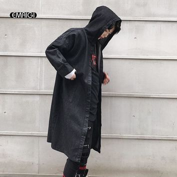 Men Streetwear Fashion Casual Hip Hop Denim Hooded Trench Jacket Male Casual Cloak Cardigan Cowboy Trench Coat