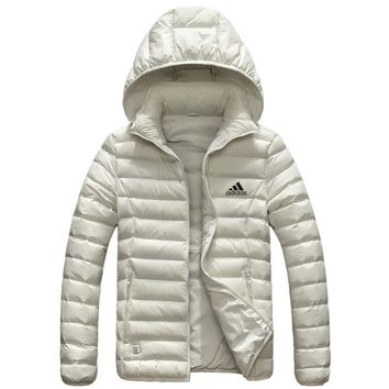 Adidas Autumn And Winter Fashion New Keep Warm Women Men High Quality Hooded Down Jacket White