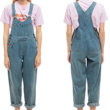 90s Denim Overalls Women GRUNGE Pants Baggy Boyfriend Long Jean Pant Tapered 1990s Suspender Hipster Vintage Jumpsuit Carpenter Medium Large