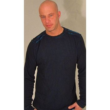 Affliction Mens Air Assault Reversible L/S Thermal in Blue/Black