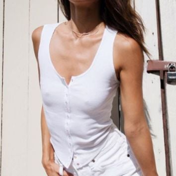 Summer new basic versatile outer wear bottoming vest female short single-breasted solid color t-shirt top