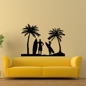 Surfing Wall Decal- Beach Wall Decal- Surfing Beach Sports Decals Vinyl Stickers Living Room Bedroom Kids Boys Room Wall Art Home Decor Z811