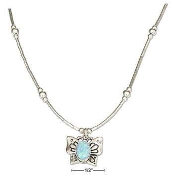 """Sterling Silver 16"""" Liquid Silver And Synthetic Blue Opal Butterfly Necklace"""