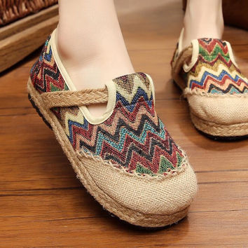 folk-custom Shoes casual linen shoes lazy foot pedal flat shoes
